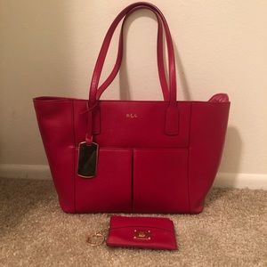 Red Ralph Lauren Leather Purse and Wallet